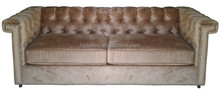 French wooden fabric button tufted settee sofa
