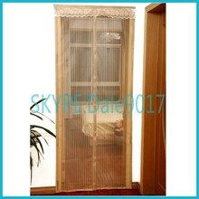 Folding door curtain screen mesh with magnets and sewed brims