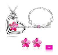 Flower shaped necklace+bracelet+ earring jewelry set made with Swarovski Elements S-3003