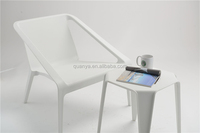Large panel plastic armchair for shopping mall waiting room