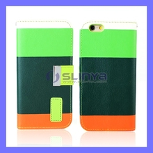 Wallet PU Leather Credit Card Mosaic color Case For iPhone 6 Plus