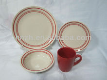 16pcs solid color ROUND shape stoneware/handpainted + color mug dinnerset