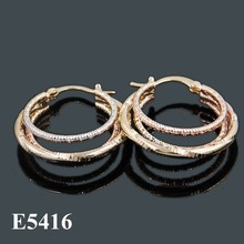 Fashion Earrings, Tri Colors Gold Plated Earrings For Girls