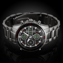 Mens Stainless Steel Digital Watches Chronograph 3ATM Sport Watch Fashion Watches WA034-ESS