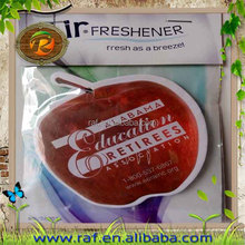 Fruit shape car paper air freshener with different scents, factory direct hot sell