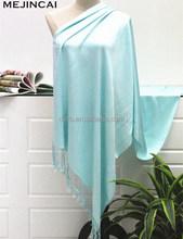 light blue silk like viscose plain shawl