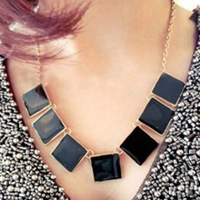 Fashion Jewelry Exotic Necklace,Noble Black Agate Square Decor Statement Necklace