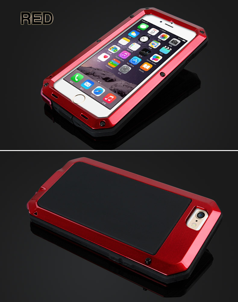 For iPhone 6 Metal Case ,WaterProof DustProof Shockproof Tempered Cover Case for iPhone 6