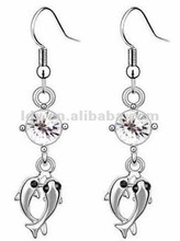 New Pendant Two Fishes Shaped Crystal Rhinstone Multicolor Exquisite Daisy Crystal Honorable Custom Murano Alloy Earrings