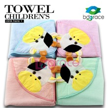 100% Cotton Kid and Baby Milk Cow Animal Terry Hooded Bathrobe Towels