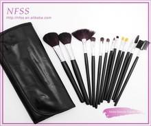 Hot sale 2015 makeup brush wood handle high quality make up brush factory 13pcs black makeup brush set fashion cosmetic bag