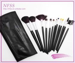 Hot sale 2015 makeup brush wood handle high quality make up brush factory 13pcs black makeup brush set fashion cosmetic bag