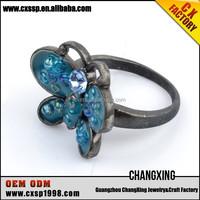 2015 Best selling blue Diamonds butterfly fashion tat rings