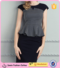 2015 Office Beautiful Lady Top with Scollop Hem Tunic Top 155272