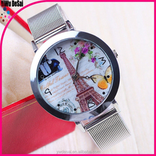2015 New Silver Mesh Belt watch with stainless steel belt for girl