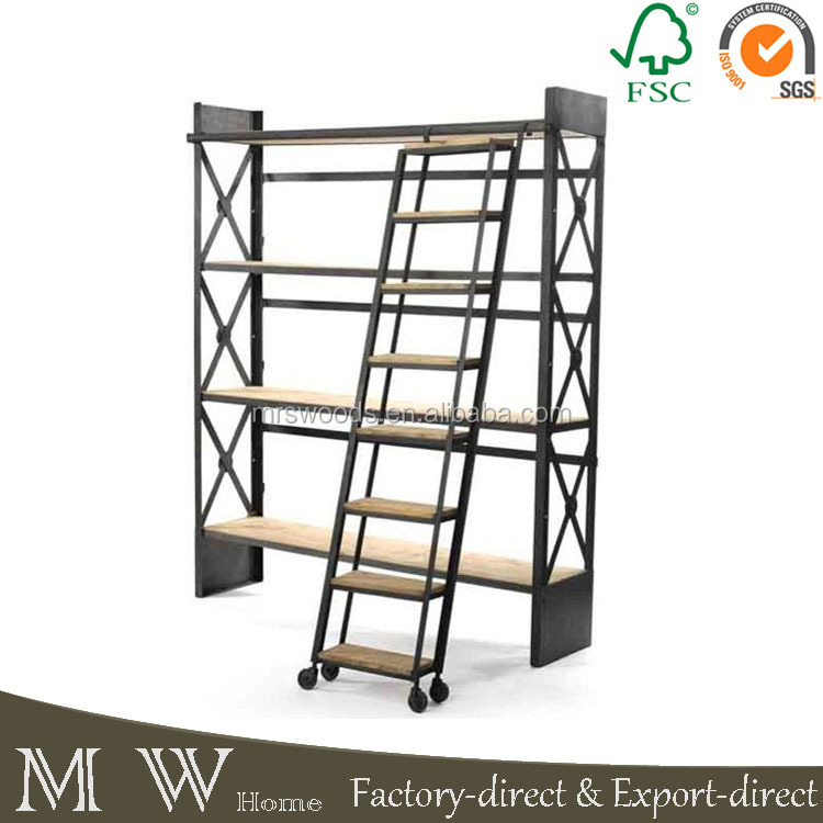 metal vintage industrial rustic bookcase with ladder. Black Bedroom Furniture Sets. Home Design Ideas