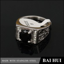 China factory cheap rings stainless steel black stone men ring with cz