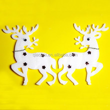 2X Christmas snowy deer xmas hanging decoration indoor ornaments/window deer