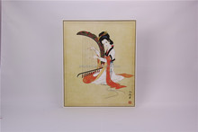 Chinese classical woman use music instrument framed painting