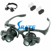 NO.9892G 10X 15X 20X 25X Optical Lens LED Light Glasses Magnifier Eye Loupe Repair Circuit Board