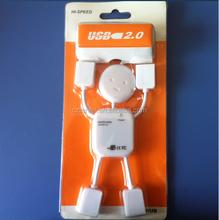 Custom logo high speed man shape usb hub/mini 4 port 2.0 usb hub/white color laptop and tablets flash drive usb hub