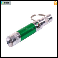 Aluminum keychain mini torch light, led light whistle