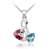 High Quality Rhodium Plated Swan Necklaces Made With Swarovski Elements