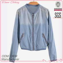 simple fashion ladies high quality women plain varsity jackets with zipper front