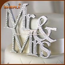Silver Plated Crystal Rhinestone Cake Topper Wedding Monogram Mr & Mrs diamante Bling Inital Cake Decoration