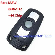 car key alarm for car bmw 3 button remote control key 868mhz with electric transponder 46chip(7936) uncut smart key