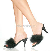 Sexy fur jelly heel high heel slipper for women sexy bedroom slippers jelly slippers