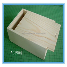 high quality unfinished wooden box with sliding lid