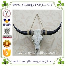2015 chinese factory custom made handmade carved hot new products home wall decoration pieces of resin cow skull