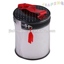 Cylindric Design, Zipper Clear PVC Gift Packaging Bag with Black Lid and Red Handle