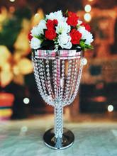 wholesale elegant new design fashion Crystal tall flower stand/wedding table decoration