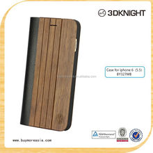 2015 Fashion Design Leather+Bamboo Wooden Case for iPhone6 4.7