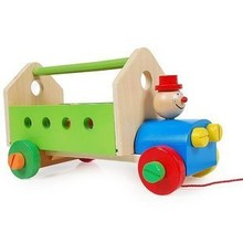 Wooden pulling tool vehicle toy ,clown for kids