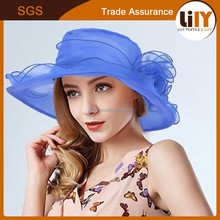 2015 new design blue folding sunbonnet anti-uv beach cap flower lace ruffle sun hat