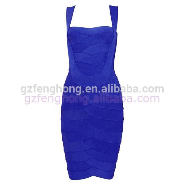 2015 nueva llegada bodycon azul vestido de noche vendaje