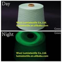 green highlitht luminous polyester staple fibre for hat/socks/gloves glow in the dark