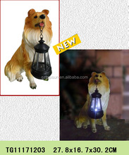 New products polyresin dog figures rechargeable lantern