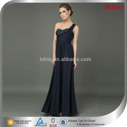 Beaded Elegant Long Evening Gowns With One Shoulder