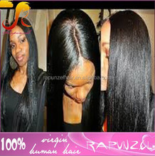 Middle parting Yaki Brazilian human hair cheap silk top full lace wigs