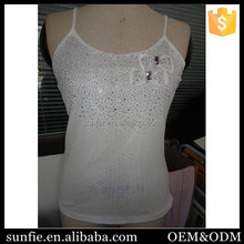Fashionable Rhinestone Bow pictures of girls cotton tops custom gym stringer vest