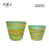 Classical Old fashioned glass vase with colorful stripe & glass vase with circle pattern glass vase for home and decoration