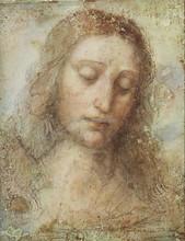 Modern artist painting Head of Christ by Leonardo Da Vinci