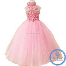 kids flowers wear princess tutu party dress pink sequin party dress for 8 years old