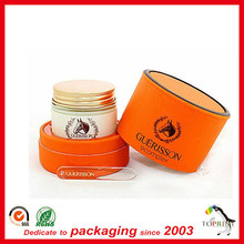 Luxury cosmetic paper tube packaging round tin cans for essential oil bottle packaging cutom printing