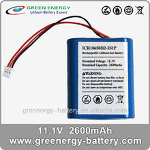 11.1V 2600mah 18650 battery lithium ion pack ICR 18650H2-3S1P best selling products in america