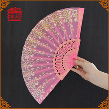 Souvenir Gift Pink Flower Lace Hand held folding fan with plastic ribs GYS910-4